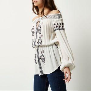 Embroidered Off Shoulder Bardot Top 🌷 White